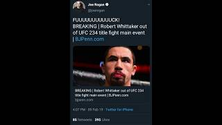 UFC Fighters react to the news of Robert Whittaker being pulled from UFC 234 due to a hernia