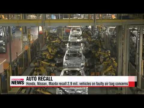 Honda, Nissan, Mazda recall 2.9 mil. vehicles on faulty air bag concerns