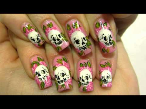 Girly Ed Hardy Inspired Tattoo Design with Skulls and Roses Nail Art Tutorial