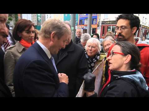 An Taoiseach Enda Kenny confronted by protestors on Eyre Square, Galway on Friday, 9th May 2014. http://www.advertiser.ie/galway/article/69414/what-did-enda-...