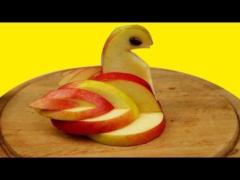 Как сделать съедобного лебедя из яблока DIY 🍎