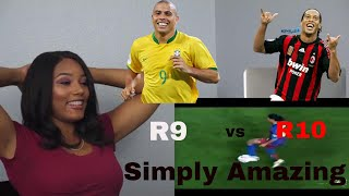 Clueless new American football fan reacts to R10 (Ronaldinho) R9 (Ronaldo) ● Skills Battle