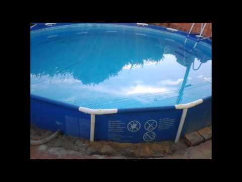 Construindo a piscina intex em casa youtube for Piscinas de plastico rectangulares