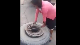 Tire Repairers Woman !