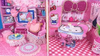 DIY Miniature Hello Kitty Dollhouse~ Kitchen and Living  Room Decor Doll Crafts (Part2)