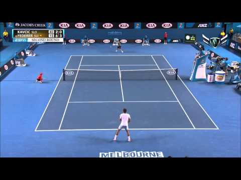 Roger Federer vs Blaz Kavcic Australian Open 2014 Amazing Point