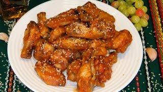 Куриные крылышки в кисло сладком соусе.