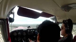 Crosswind sideslip training Cessna 175 full right hand pattern at MMMD rwy 10