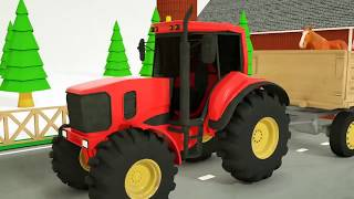 Learn Animal Names with Tractors  Farm Vehicle Video aprender kids