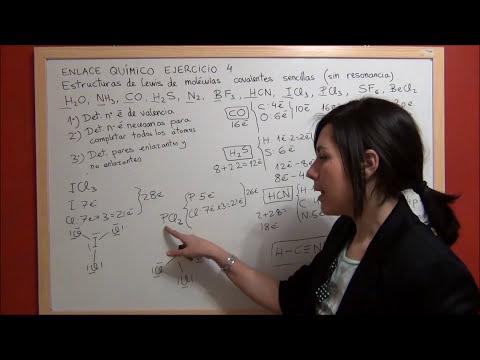 QUÍMICA Enlace Ejercicio 4 - Estructuras de Lewis moléculas covalentes sencillas H2S, H2O, NH3...