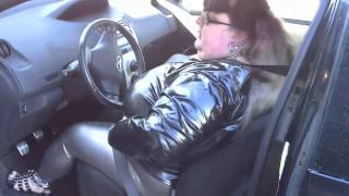 14 016- BBW FetishKimmy Driving in PVC and Spandex 1