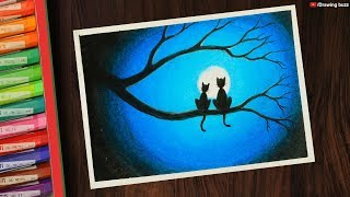 All Clip Of Easy Moonlight Wolf Scenery Drawing For Beginners With