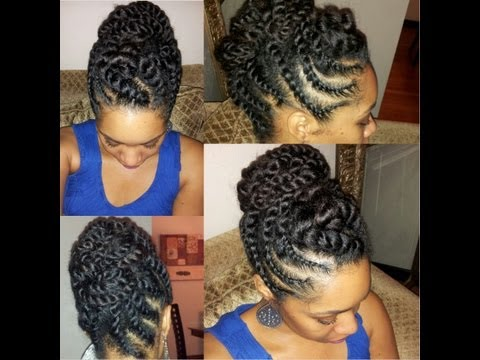 #31. Natural Hair Flat-twist Updo Protective Hairstyle