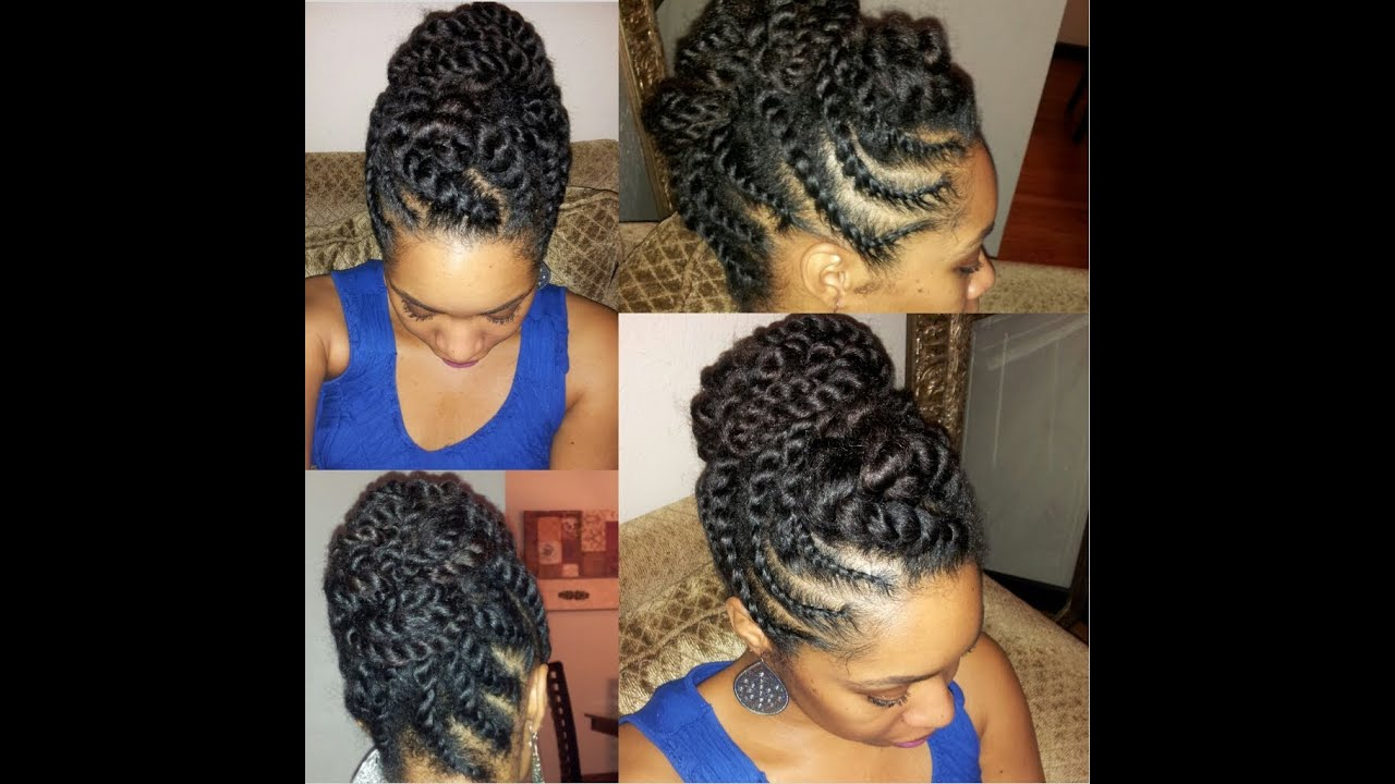 Natural Hair Flat-twist Updo Protective Hairstyle - YouTube