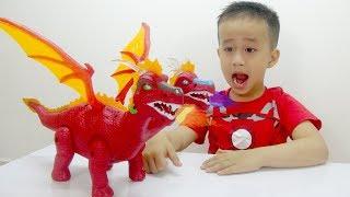 Trò Chơi Khủng Long 2 đầu đẻ trứng ♥ Bé Đức ♥ Đồ Chơi Trẻ Em Baby Dinosaur Toy