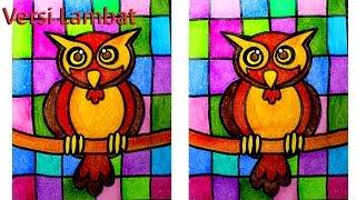 Mozaik Burung Hantu Untuk Anak Anak Dengan Crayon Versi Lambat Kharasach Com