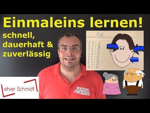 Einmaleins (1x1) lernen! Schnell, dauerhaft & zuverlässig!   Lehrerschmidt