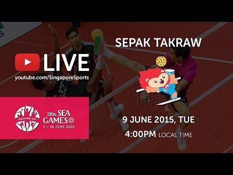 Sepak Takraw Men's Team Event Malaysia vs Singapore (Day 4)   28th SEA Games Singapore 2015