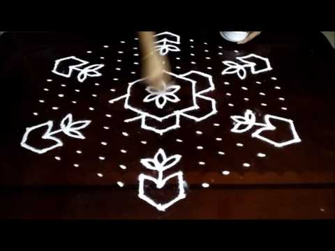 Flower kolam designs with 15 - 8 middle | chukkala muggulu with dots| rangoli design
