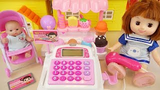 Baby doll Mart register and Ice cream shop food toys baby Doli play