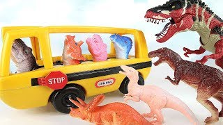 Dinosaurs Attack Dino School Bus!  Learn Names of Dinosaur With Finger Toys~ Fun Rex Toy 공룡 토이