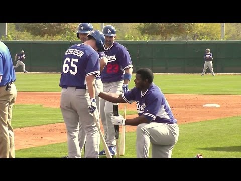 Yasiel Puig Goofing Around 2014 Dodger Spring Training Batting Practice