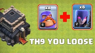 TH9 CAN'T DEFEND EL PRIMO ATTACKS, BEST COMBINATION OF TH9 ,C;ASH OF CLANS INDIA.