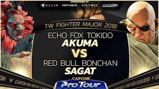 Echo Fox Tokido (Akuma) vs Red Bull Bonchan (Sagat) - TW Fighter Major 2018 Top 16 - SFV - CPT 2018