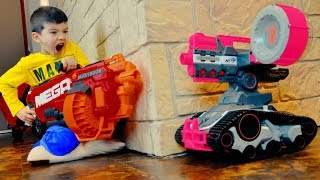 NERF Drone vs Den and Mom