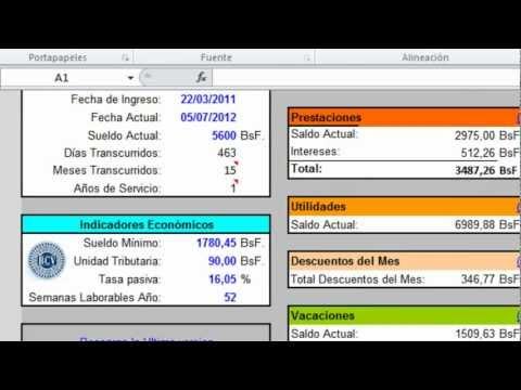 Calculos Salariales LOTTT 2014 EXCEL