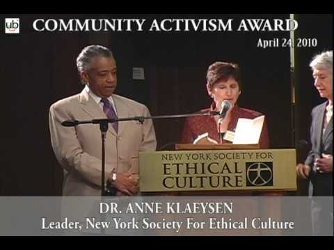 Community Activism Award to Rev. Al Sharpton  NY Society For Ethical Culture