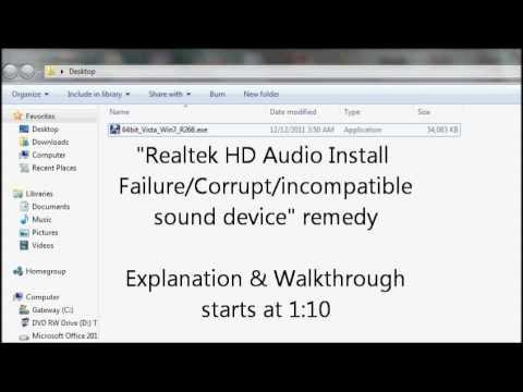 Realtek HD Audio Install Failure simple Remedy