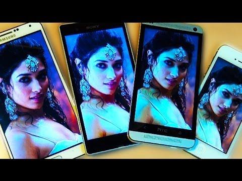 Samsung Galaxy Note 3 Vs Xperia Z Vs HTC One Vs iPhone5 Screen Comparison