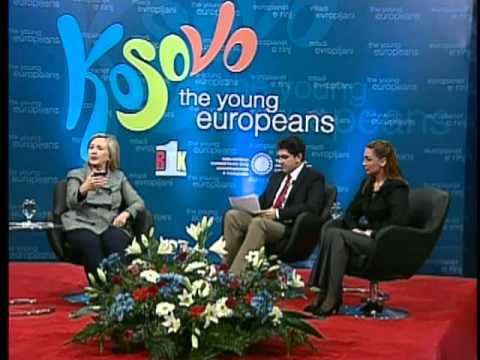 Secretary Clinton Holds a Townterview With Young Europeans in Kosovo