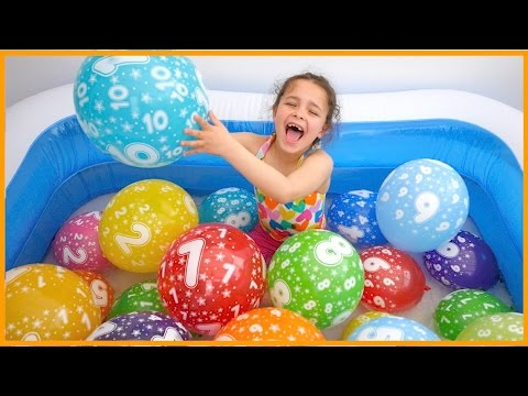 Learn NUMBERS with Balloons for Children Toddlers Babies. Finger Family Song. Nursery Rhymes