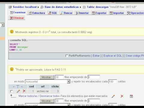 Contador de descargas o clicks con PHP - Parte 1