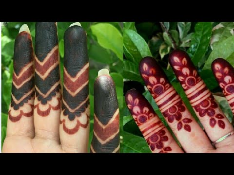 Trendy Fashion !  Beautiful 2. Fingers Henna Mehndi Design. Step By Step