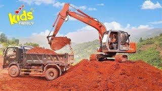 Xe cần cẩu, máy xúc ô tô xúc đất crane truck excavator ☀ Kids Family