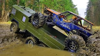 RC Cars OFF Road #MUD 4x4 VS 6x6 – MAN #Truck The Beast VS #Axial Wraith