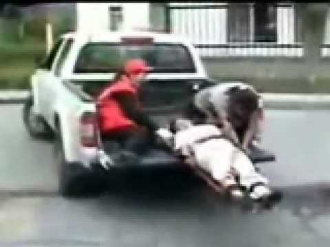 Injured Man Falls Out Of Rescue Truck Youtube