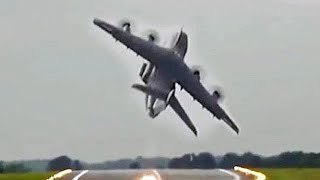 Airbus A400M Combat Takeoff At RIAT 2017.