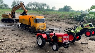 RC Mercedes Benz Truck stuck in mud & rescued by Centy Toy Tractors & Huina Excavator | Kids Video