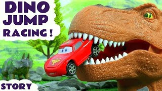 Hot Wheels Marvel and DC Comics Superheroes join Pixar McQueen in a Dinosaur Toys Crashes Challenge
