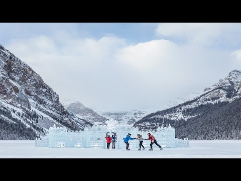 Ice skating on Lake Louise in the Canadian Rocky Mountains, one of the many breathtaking landscapes in Alberta. See all the commercials on our Youtube channe...