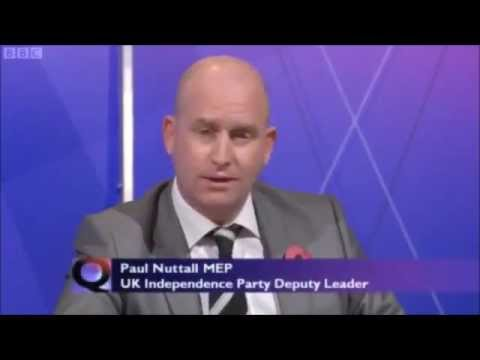UKIP Paul Nuttall MEP on BBC Question Time - October 2012