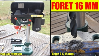 perceuse à colonne lidl parkside test foret acier 16 mm ! bench pillar drill tischbohrmaschine
