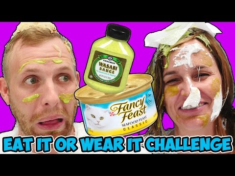 EAT IT OR WEAR IT CHALLENGE! Taste or be dressed with Cat Food, Wasabi Sauce & Sauerkraut