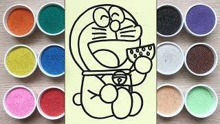 Chị Chim Xinh TÔ MÀU TRANH CÁT ĐÔRÊMON ĂN DƯA HẤU - Đồ chơi trẻ em - Colored Sand Painting Toys