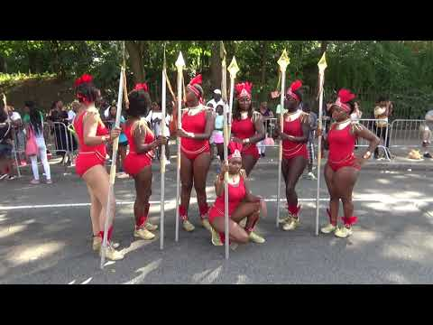 BLACK GIRLS WARRIORS ROYAL BODYGUARDS AFRICAN TRIBAL COSTUMES AT CARIBBEAN WEST INDIAN CARNIVAL 2018 thumbnail