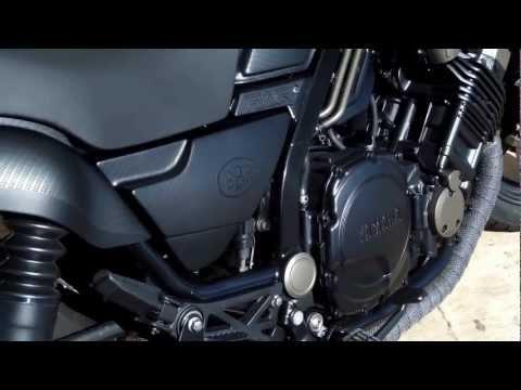 Custom 1986 Yamaha FZX Fazer Bare Bone Rides Black-Ops Build (Sound)